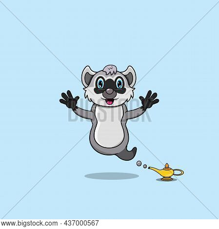 Cute And Funny Animals With Raccoon. Genie Character. Perfect For Mascot, Logo, Icon, And Character