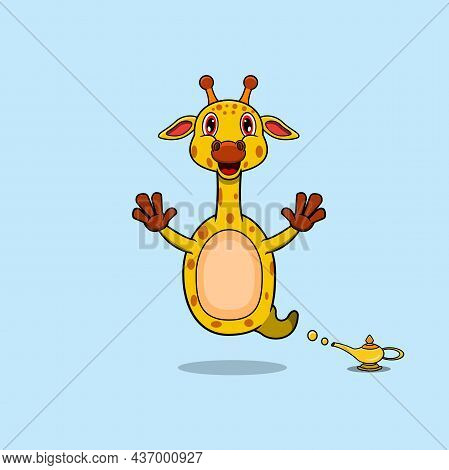 Cute And Funny Animals With Giraffe. Genie Character. Perfect For Mascot, Logo, Icon, And Character