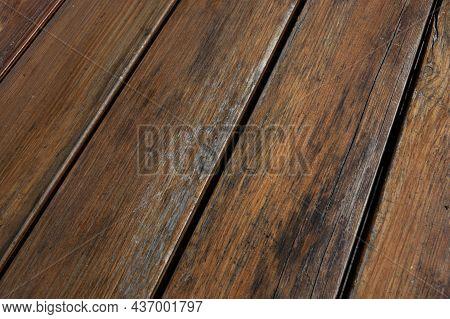 Shabby Planks Background. Peeled Varnish On Wood. Selective Focus