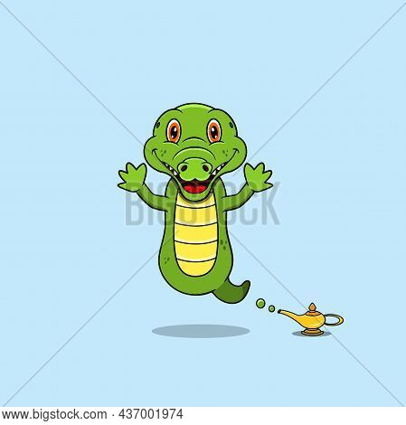 Cute And Funny Animals With Crocodile. Genie Character. Perfect For Mascot, Logo, Icon, And Characte