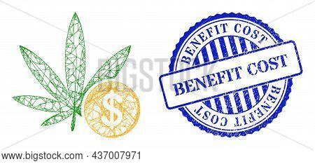 Vector Network Cannabis Investing Frame, And Benefit Cost Blue Round Scratched Stamp Seal. Hatched F