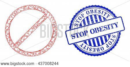 Vector Network Cancel Framework, And Stop Obesity Blue Round Textured Seal Imitation. Crossed Frame