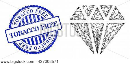 Vector Net Adamant Crystal Frame, And Tobacco Free Blue Round Textured Stamp Seal. Crossed Carcass N