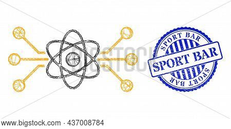 Vector Net Atomic Circuit Wireframe, And Sport Bar Blue Round Scratched Stamp. Wire Frame Network Sy