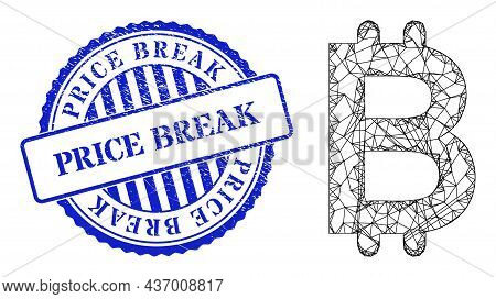 Vector Network Bitcoin Frame, And Price Break Blue Round Rubber Stamp. Wire Frame Network Illustrati