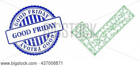 Vector Crossing Mesh Apply Tick Carcass, And Good Friday Blue Round Scratched Watermark. Crossed Car
