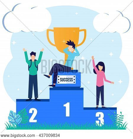 Vector Illustration Of Flat Style Employee Standing On Podium In First, Second And Third Place. The