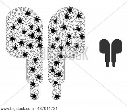 Mesh Polygonal Compact Earphones Symbol Illustration In Outbreak Style. Carcass Model Is Created Fro