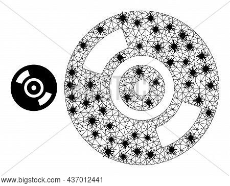 Mesh Polygonal Cd Disc Icon Illustration With Lockdown Style. Carcass Model Is Created From Cd Disc