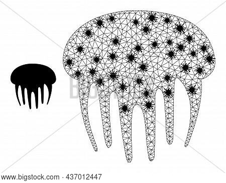Mesh Polygonal Jelly Fish Icon Illustration With Lockdown Style. Abstraction Is Created From Jelly F