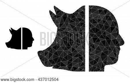 Lowpoly Dual Pig Man Icon On A White Background. Flat Geometric 2d Modeling Illustration Based On Du