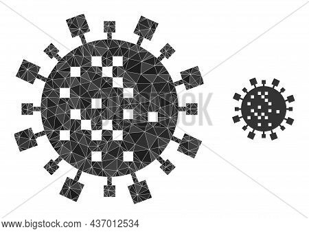 Low-poly Digital Virus Cell Icon On A White Background. Flat Geometric Polygonal Illustration Based