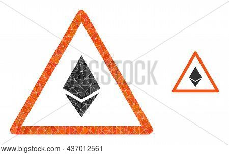 Lowpoly Ethereum Warning Icon On A White Background. Flat Geometric Lowpoly Abstraction Based On Eth