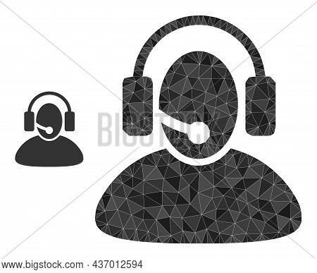 Low-poly Call Center Operator Icon On A White Background. Flat Geometric 2d Modeling Illustration Ba