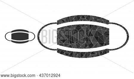 Lowpoly Coronavirus Mask Icon On A White Background. Flat Geometric Lowpoly Symbol Based On Coronavi