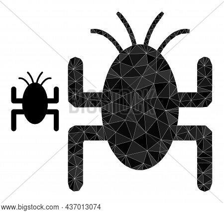 Lowpoly Bug Tick Icon On A White Background. Flat Geometric Polygonal Illustration Based On Bug Tick