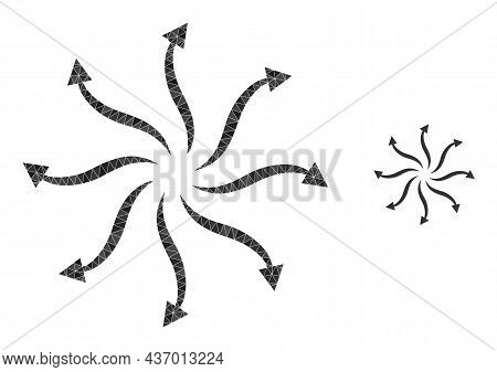 Lowpoly Cyclone Rotation Arrows Icon On A White Background. Flat Geometric 2d Modeling Illustration