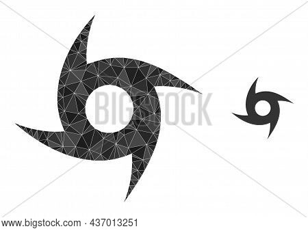 Low-poly Cyclone Icon On A White Background. Flat Geometric Polygonal Illustration Based On Cyclone