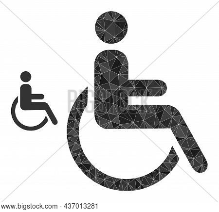 Lowpoly Disabled Person Icon On A White Background. Flat Geometric Polygonal Illustration Based On D