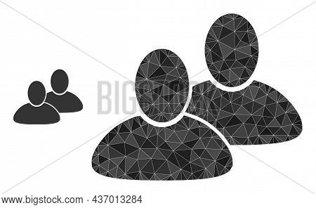 Low-poly Customers Icon On A White Background. Flat Geometric Polygonal Illustration Based On Custom