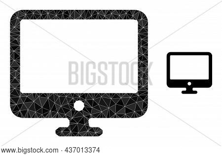 Lowpoly Computer Display Icon On A White Background. Flat Geometric Mesh Illustration Based On Compu