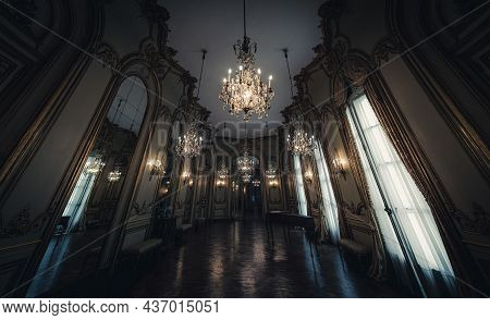 Buenos Aires, Argentina, January 30, 2021: Majestic View Of Dance Saloon Of An Old French Like Archi