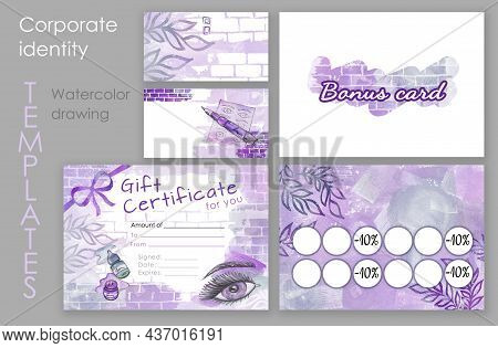 Make Up Set. Colorful Make-up Buisenes And Bonus, Card And Gift And Education Certificate For An Edu