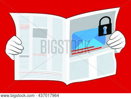 Business Newspaper With Sending Encrypted E-mail Protection Blue Secure Mail Internet Symbol As Head