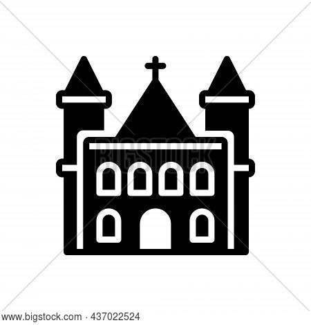 Black Solid Icon For Parish Church Christianity Confession Worship Steeple Evangelical