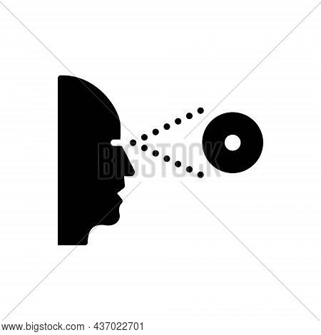Black Solid Icon For Perceived Recognized Lens Sight Observe Eyesight Eyeball Glimmers Optical