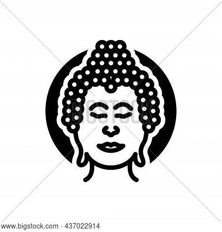 Black Solid Icon For Buddha Meditate Buddhism Buddhist Buddha-purnima Jayanti Religion Enlightenment