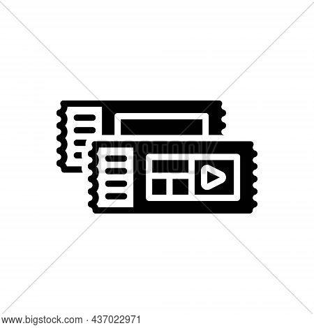 Black Solid Icon For Tickets Pass Event-pass Voucher Talon Coupon Cinema Entertainment