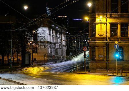 Riga, Latvia - October 21, 2021: Riga In The Lockdown. Latvian Government On October 20 Confirmed A