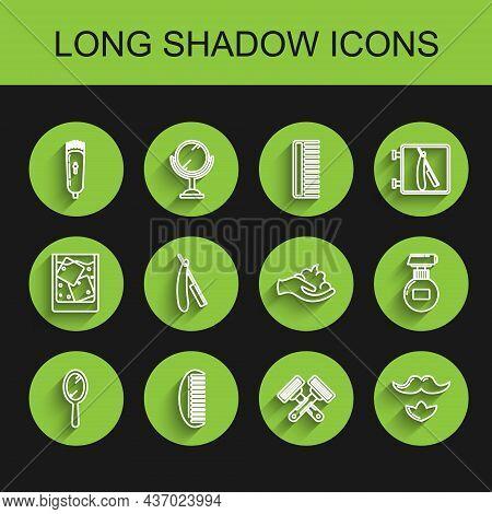 Set Line Hand Mirror, Hairbrush, Electrical Hair Clipper Shaver, Crossed Shaving Razor, Mustache Bea