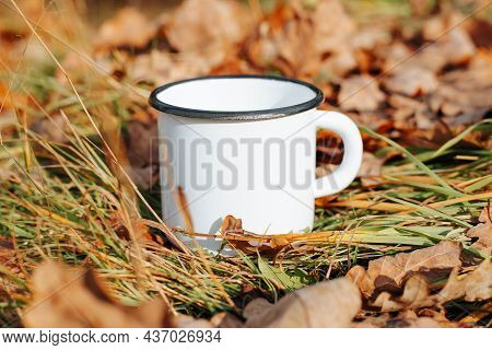 White Iron Mug Mock-up Standing On Green Grass With Fallen Leaves In Forest Outdoors. Close-up Of Em