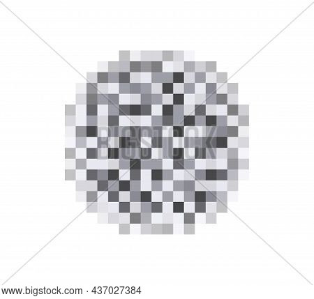 Censor Blur Effect Texture For Face Or Nude Skin. Blurry Pixel Transparent Censorship Circle. Vector
