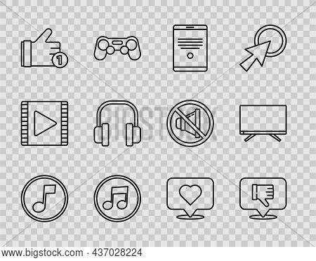 Set Line Music Note, Tone, Dislike In Speech Bubble, Tablet, Hand, Headphones, Like Heart And Smart
