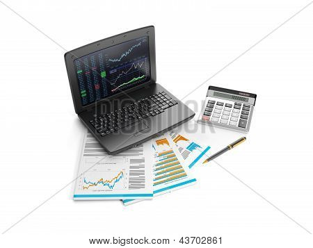 3D Illustration: Notebook, Calculator And Business Lists. Accounting Data Analysis. Business Idea