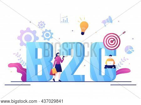 B2c Or Business To Consumer Marketing Vector Illustration. Businessmen And Client Set Strategy, Sale