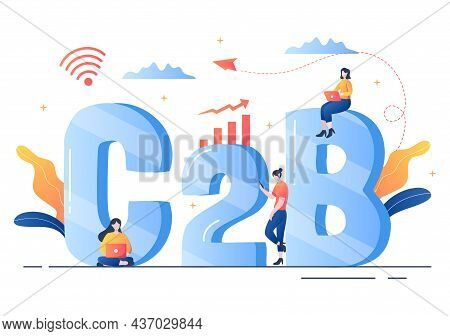 C2b Or Consumer To Business Marketing Vector Illustration. Businessmen And Client Set Strategy, Sale