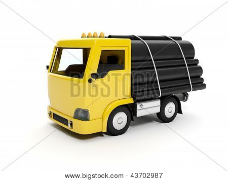 3D Illustration: A Group Of Pipes And A Truck. Delivery Of Goods