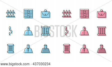 Set Line Decree, Paper, Parchment, Scroll, Lawyer, Attorney, Jurist, Jurors, Prisoner, Anonymous Wit