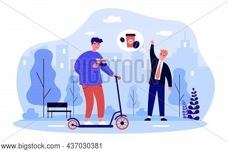 Courier Delivering Takeaway Coffee For Businessman. Deliveryman With Scooter Holding Cups With Drink