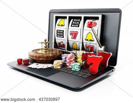 Online Gambling Concept. Roulette Table, Playing Cards,casino Chips Standing On Laptop Computer. 3d