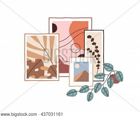 Framed Pictures And Potted Plant For Interior Design, Home Gallery. Abstract Paintings And Houseplan