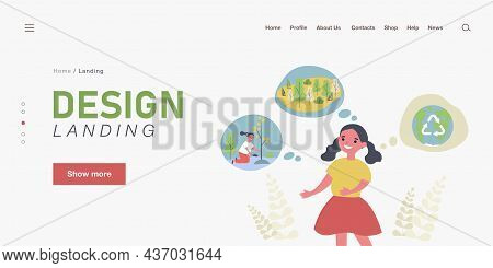 Cute Little Girl Thinking About Ecology. Globe, Tree, Eco Flat Vector Illustration. Environment And