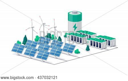 Smart Future Renewable Green Power Plant With Electric Solar Panel Wind And Li-ion Electricity Grid.
