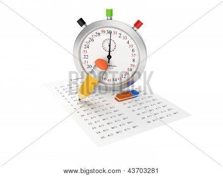 3D Illustration: Stopwatch And Examination Sheet. Passing The Exam, Questions And Answers