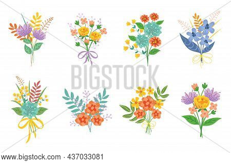 Bouquet Of Garden Flowers Set. Vector Illustrations Of Summer Floral Collection With Blossoms And Gr