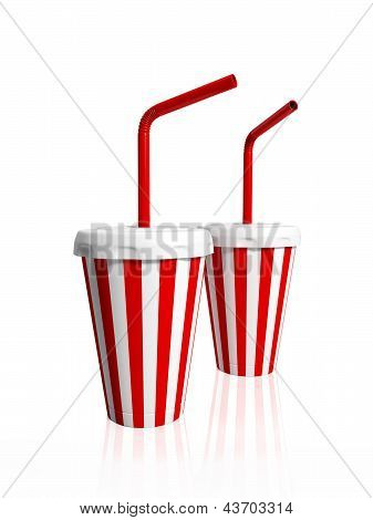 3D Illustration: Two Paper Striped Glasses With Tubules For Drink